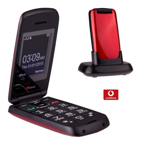 TTfone Star Big Button Simple Easy To Use Clamshell Flip Mobile Phone - Red