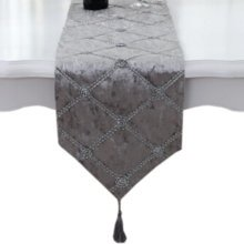 Grey Home Decor Table Runner Bed Runner Luxury Tea Table Cloth, 11*83 Inch