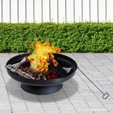 Outsunny Round Fire Pit | Steel Fire Bowl