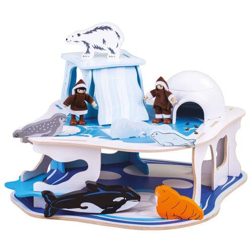 Bigjigs Toys Wooden Polar Glacier Playset - Arctic Activity Centre