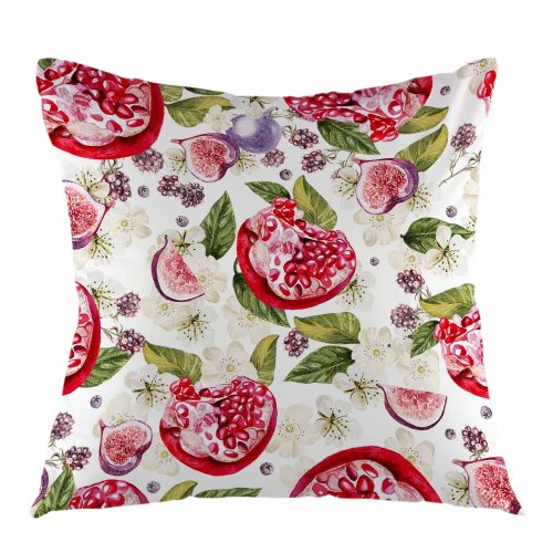 Melyaxu Pomegranate Fig Leaves and Blackberries Throw Pillow Case Square Cushion Cover for Sofa Couch Bedroom Living Room Dorm Decoration 18 x 18 Inch