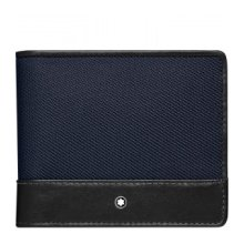 MONTBLANC WALLET WITH 4 COMPARTMENTS WITH COIN PURSE NIGHTFLIGHT BLACK BLUE 116835