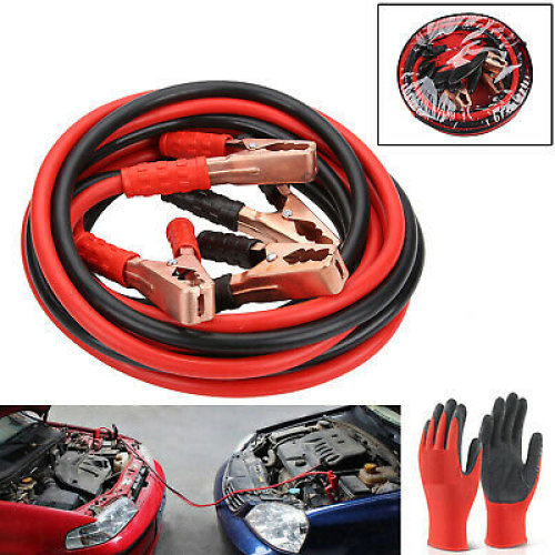 HEAVY DUTY 1000AMP CAR VAN JUMP LEADS 4 METRE BOOSTER CABLE START NEW & GLOVES