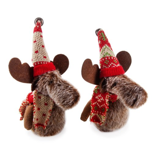 Set of Two Plush Moose Hanging Christmas Decorations