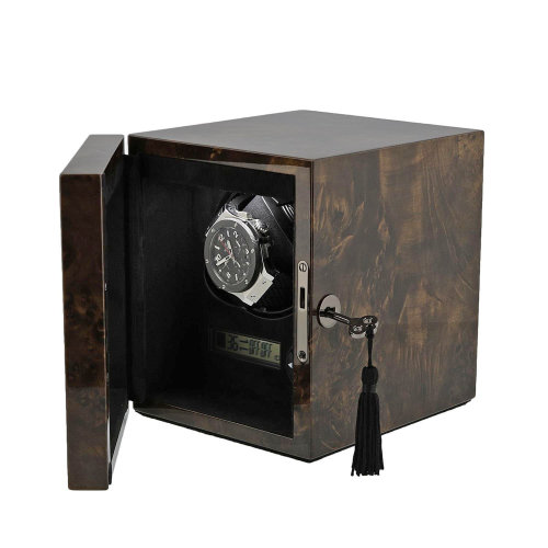 Watch Winder Dark Burl Wood finish with LED Light by Aevitas