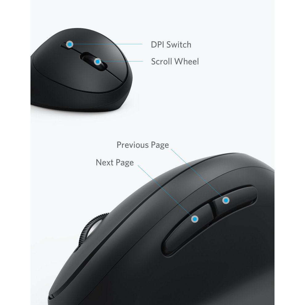 8ea6eb15548 ... Anker Wireless Vertical Ergonomic Mouse with 800/1200/1600 DPI, 5  Buttons, ...