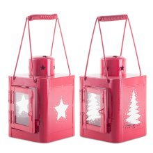 Pair of 23cm Red Metal Christmas Star & Tree Cut-Out Candle Lanterns