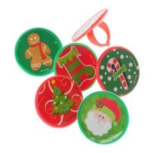 Lot Of 48 Christmas Sticker Plastic Adjustable Child Size Rings - 1""