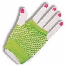 Neon Green Short Fishnet Gloves -  gloves fishnet fancy dress short neon accessory green