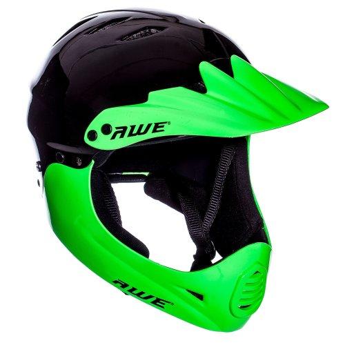 AWE FREE 5 YEAR CRASH REPLACEMENT* BMX Full Face Helmet Black Green Large 58-60cm