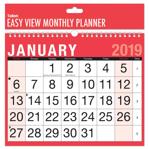 2019 Month to View Wall Planner Calendar Easy Home Office Student College Spiral Bound MTV Easy