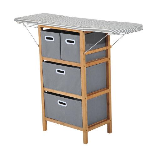 Homcom Folding Ironing Board Station and Shelving Unit w/ Storage Boxs