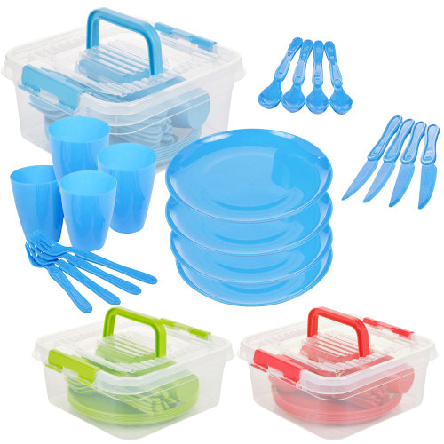 Large 21 Piece Picnic Set With Storage Box