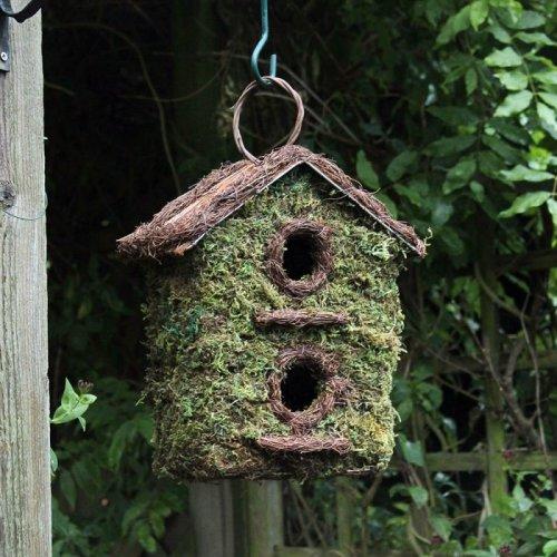 Bush Wood Two Storey Wild Bird Garden Nesting Box Rustic Wooden Bark Small Birds
