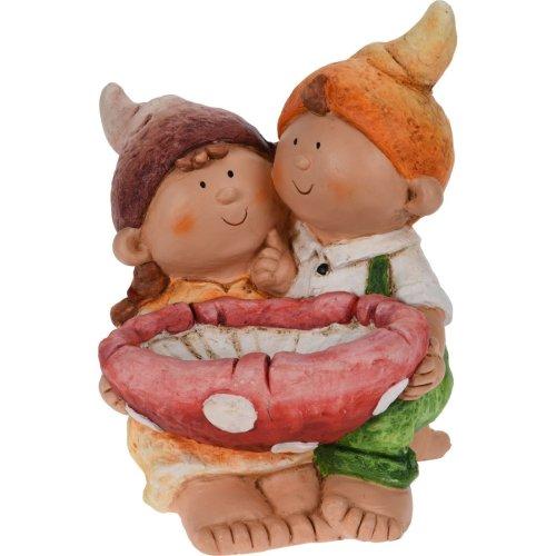 Rammento Bright Boy & Girl Bird Bath Feeder Garden Ornament Gnome