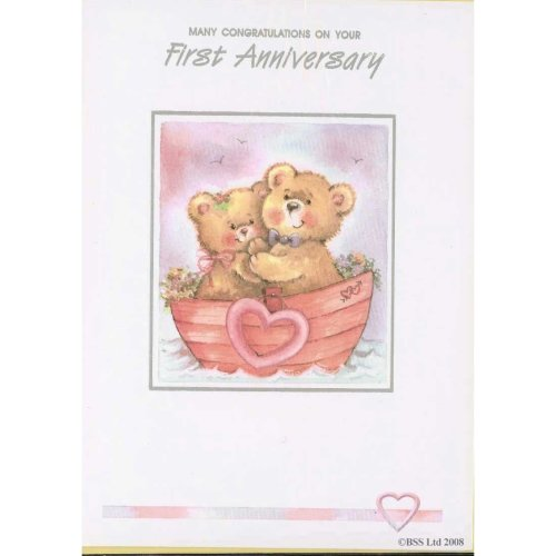 Many Congratulations on your 1st First Anniversary Card Greeting Card