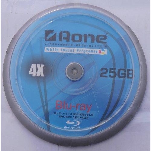 10x Aone Blu Ray 4X 25GB Full Face Printable