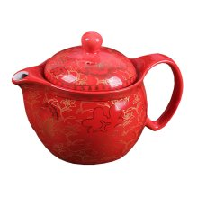 Elegant Retro Ceramic Teapot with Stainless Tea Infuser - Red