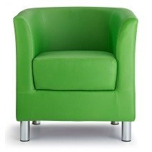 Sagony Designer Modern Tub Chair Green Padded Seat Chrome Legs