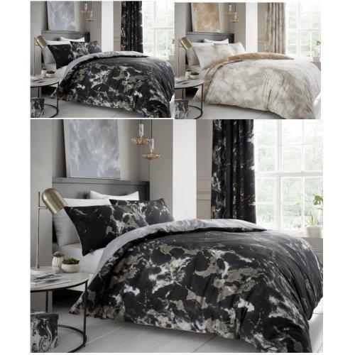Marbel Effect Duvet Quilt Cover Polycotton Printed Bedding Set
