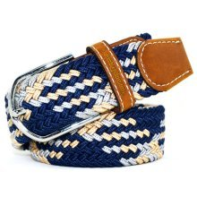 Mens Unisex Woven Stretch Braided Elastic Leather Buckle Belt Practical Waistband Belts