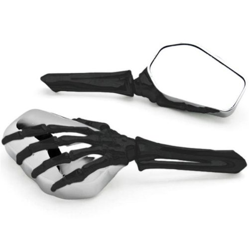 Krator MT333-BH Skeleton Hand Mirrors for Universal Motorcycle Cruiser M8 M10 H-D, Black & Chrome