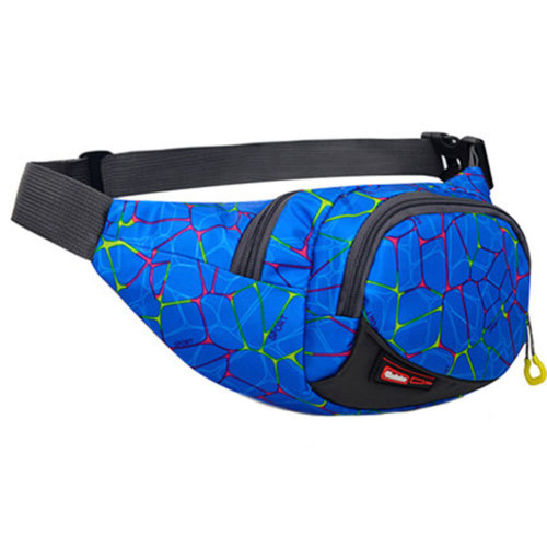 Outdoor Sports Multi-functional Waist Packs for Running Hiking Cycling Camping, Blue Pattern