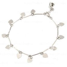 Silver Coloured Love Heart Ankle Bracelet Anklet Adjustable
