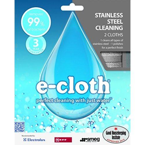 e-Cloth Stainless Steel Pack 2 Microfibre Clean & Polishing Cloths, No Chemicals