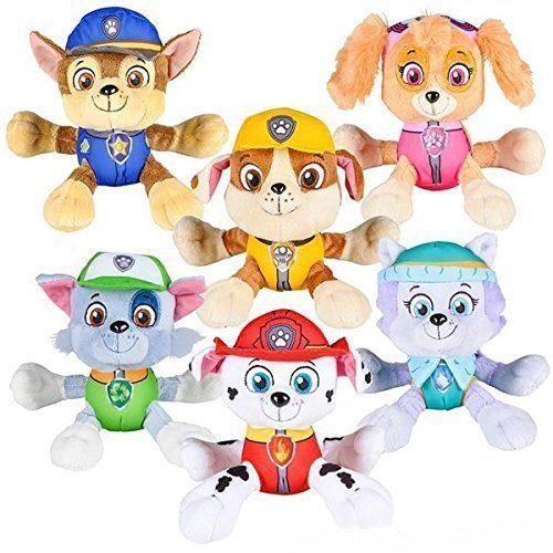 PAW Patrol 6 Plush Toy SET of 6 Characters Marshall Skye Everest Rocky  Rubble Chase