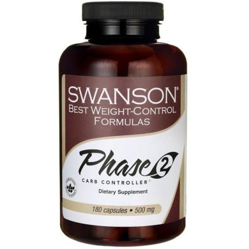 Swanson  Phase 2 Carb Controller White Kidney Bean Extract, 500mg  -  180 caps