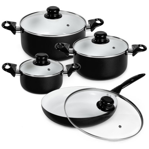 saucepan set made of aluminium with ceramic coating black