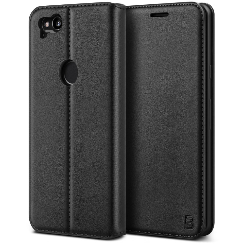 the latest 04a05 018e3 BEZ Google Pixel 2 Case, Protective PU Leather Wallet Flip Phone Cover for  Google Pixel 2 with Card Holders, Kick Stand, Magnetic Closure, Black