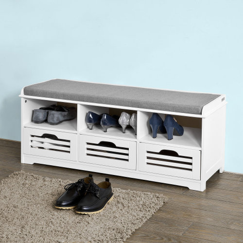 SoBuy® FSR36-W, Shoe Storage Bench with 3 Drawers, Hallway Cabinet Shoe Rack