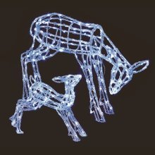Premier 2 Pack Acrylic Mother and Baby Christmas Reindeer with 230 White LEDs (LV161010)