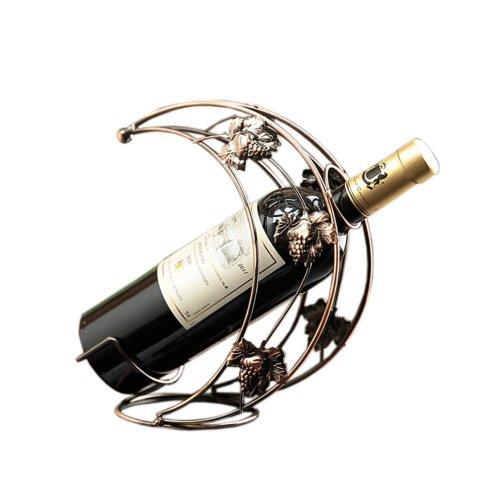 [Moon Shaped]Ironwork Creative Wine Rack Storage Organizer Display Holder Bronze