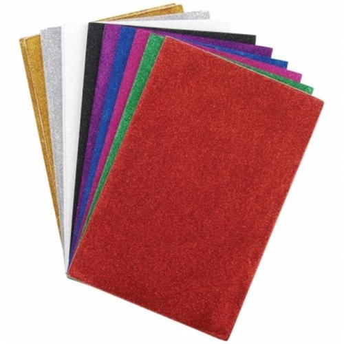 Glitter Sticky Back Foam Sheets 6 in.X9 in. 12- Pkg-Assorted Colors