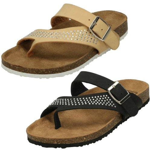 Ladies Down To Earth Diamante Toe Loop Sandals