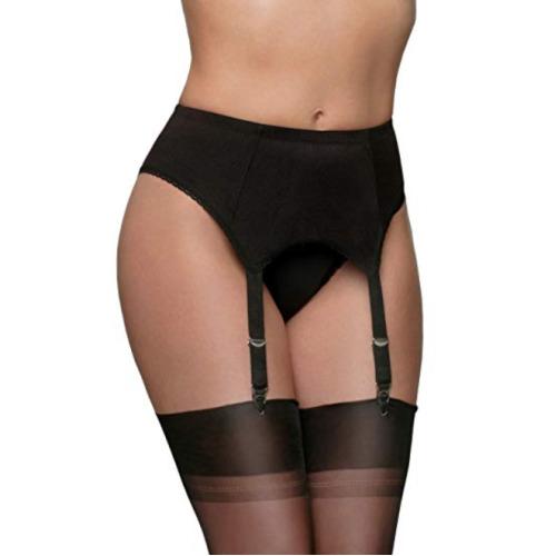 Nylon Dreams NDL6 Women's Black Solid Colour Garter Belt 4 Strap Suspender Belt Small