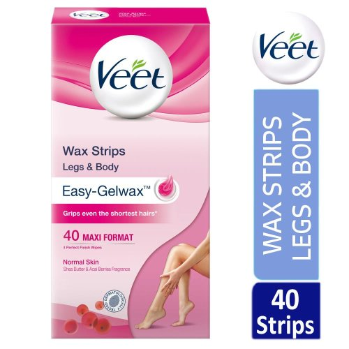 Veet Legs & Body Hair Removal 40 Wax Strips With Shea Butter For Normal Skin