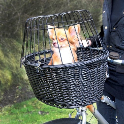 Dog Bike Basket Front Mounted Wicker Bicycle Carrier