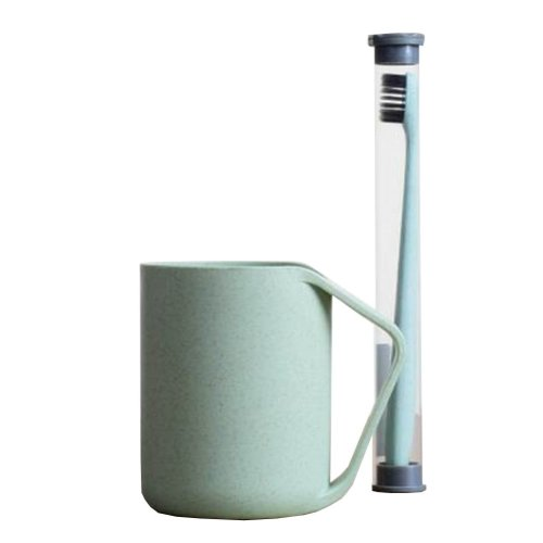 Wheat Straw Tooth Mug Toothbrush Holder With Toothbrush Toothbrush Stand [Green]