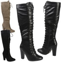 Serenity Womens High Block Heel Lace Up Mid Calf Boots