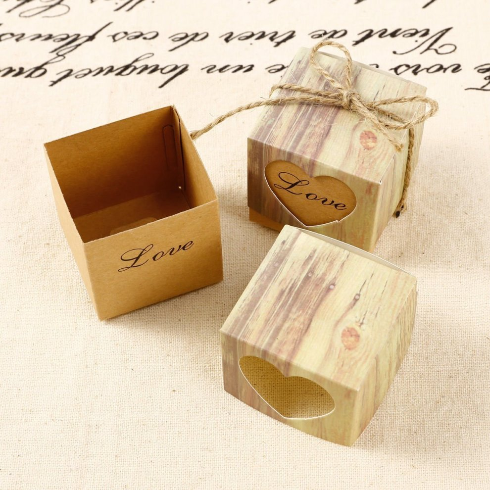 Jzk 50 X Love Heart Rustic Wedding Favours Boxes Kraft Paper Sweets Box Small Gift Box For Wedding Birthday Baby Shower Christening Graduation