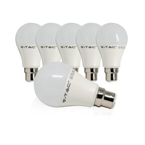V Tac B22 Led Bayonet Light Bulbs 75w Equivalent 11w Bc Bulb A60 Daylight 6400k Frosted Globe Gls Ultra Bright 1055lm On