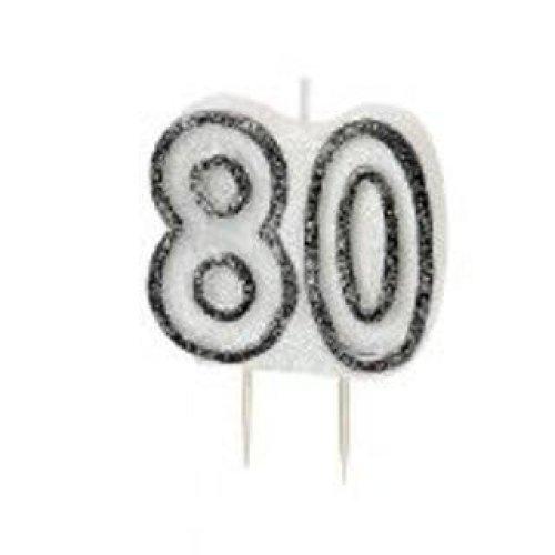 Age 80 Birthday Candle Black Glitz