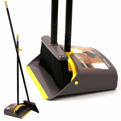 "Dust Pan and Broom/Dustpan Cleans Broom Combo with 40.5""/55""Long Handle for Home Kitchen Room Office Lobby Floor Use Upright Stand up Dustpan Broom..."