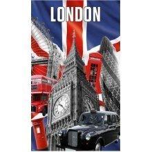 Capital London Tea Towel Souvenir Gift Union Jack Big Ben Black Taxi Red Bus UK Montage Collage