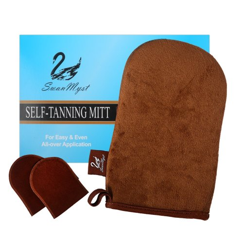 SwanMyst Double-sided Soft Microfiber Self Tanning Mitt Applicator for Streak-Free Tan, 2 Free Mini Facial Mitts included
