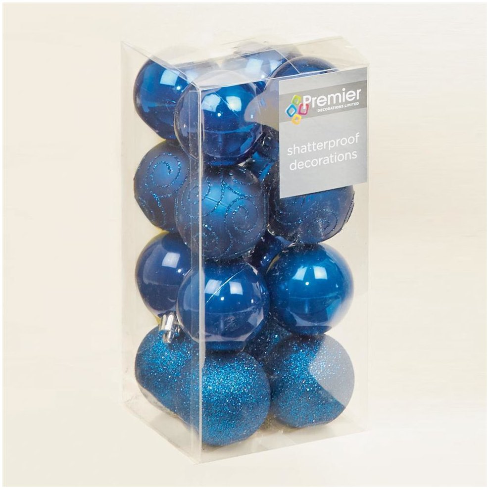 Christmas Tree Decoration 16 Pack 50mm Shatterproof Baubles - M Blue on OnBuy